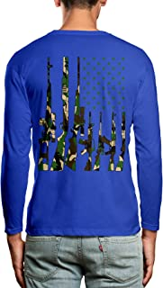 SpiritForged Apparel Camo USA Gun Flag Back Print Men's Long Sleeve Shirt