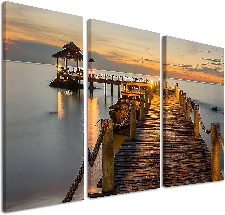 Designart Brown Wooden Pier in Evening-Seashore Photo Canvas Art Print-36x28in-Multipanel 3 Piece, 36x28-3 Panels, Yellow