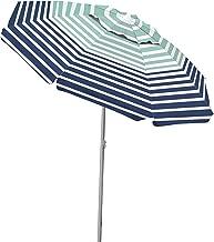Caribbean Joe CJ-TUVC78HS Tilting Beach Umbrella Double with Canopy Windproof Design, Stripe, 6.5'