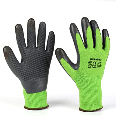 WORKPRO 2 Pairs Garden Gloves, Working Gloves with Eco Latex Palm Coated, Works Gloves with Touchscreen for Weeding, Digging, Raking and Pruning(M)