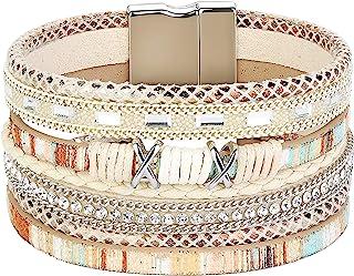 فيبو ستيل بوهو التفاف أساور للنساء مضفر جلد حبل اليدوية متعدد الطبقات الكفة الإسورة
