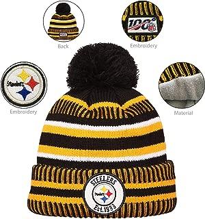 Football Team Embroidery Logo Adjustable Pom Knit Bonnie Hat Winter