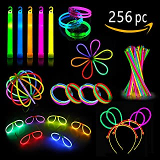 Glow Sticks Party Pack - Glow Party Favors For Kids And Adults - 256 Pieces-Glow Sticks Set Includes Connectors To Create Necklaces, Bracelets, Glasses, Headbands, Balls, Flowers And Much More