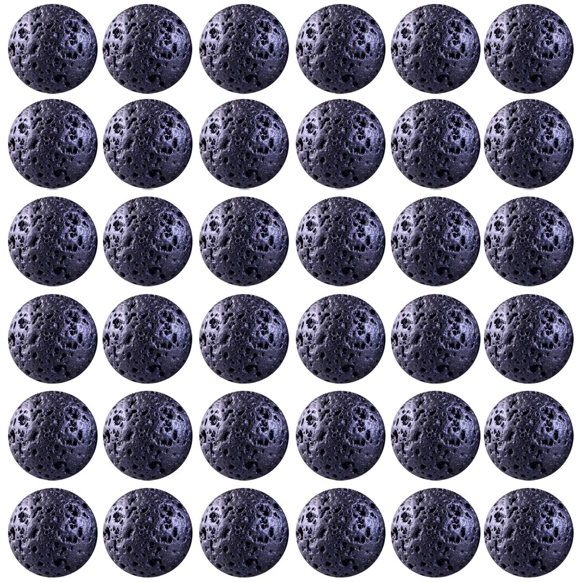 Natural Stone Beads 100pcs 8mm Black Lava Round Genuine Stone Beading Loose Gemstone Hole Size 1mm DIY Beads for Essential Oil Yoga Bracelet Necklace Earrings Jewelry Making (Black Lava Stone Beads)