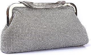 Clutch Handbag Luxurious Rhinestone Crossbody Bag Dinner Shoulder Bags Woman Gold Wallet Evening Dress Cosmetic Bag Bride Silver Pocket (25 × 5 × 12cm)