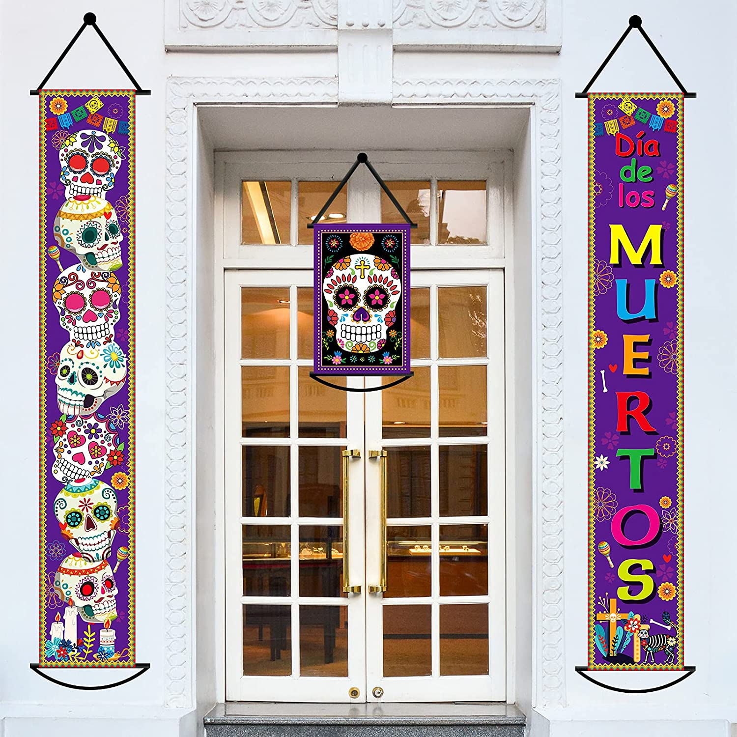 Set of 3 Day of The Dead Decorations Banners Mexican Party Dia de Los Muertos Decorations Porch Sign Skull Hanging Flag Fiesta Decoration for Indoor/Outdoor