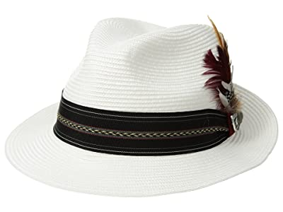 Stacy Adams Poly Braid Pinch Front Fedora with Fancy Band (White) Caps