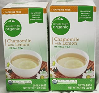 Simple Truth Organic Chamomile with Lemon Herbal Tea Caffeine Free (Pack of 2)