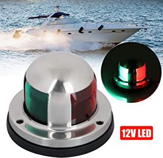 Linkstyle 12v Marine LED Boat Navigation Lights, Waterproof Marine Navigation Lamp Marine Boat Bow Lights with Red and Green LED for Boat Pontoon Yacht Skeeter[Stainless Steel Shell]