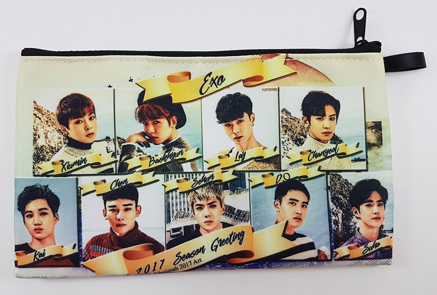 EXO FROM EXO PLANET KPOP BIG Zip Pen Pencil Stationery / Cosmetic Makeup Case Bag Pouch EXO-031