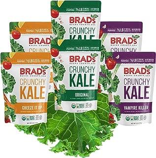 Brad's Plant Based Organic Crunchy Kale, Variety Pack (2 Original, 2 Vampire Killer & 2 Cheeze-It-Up), 6Count