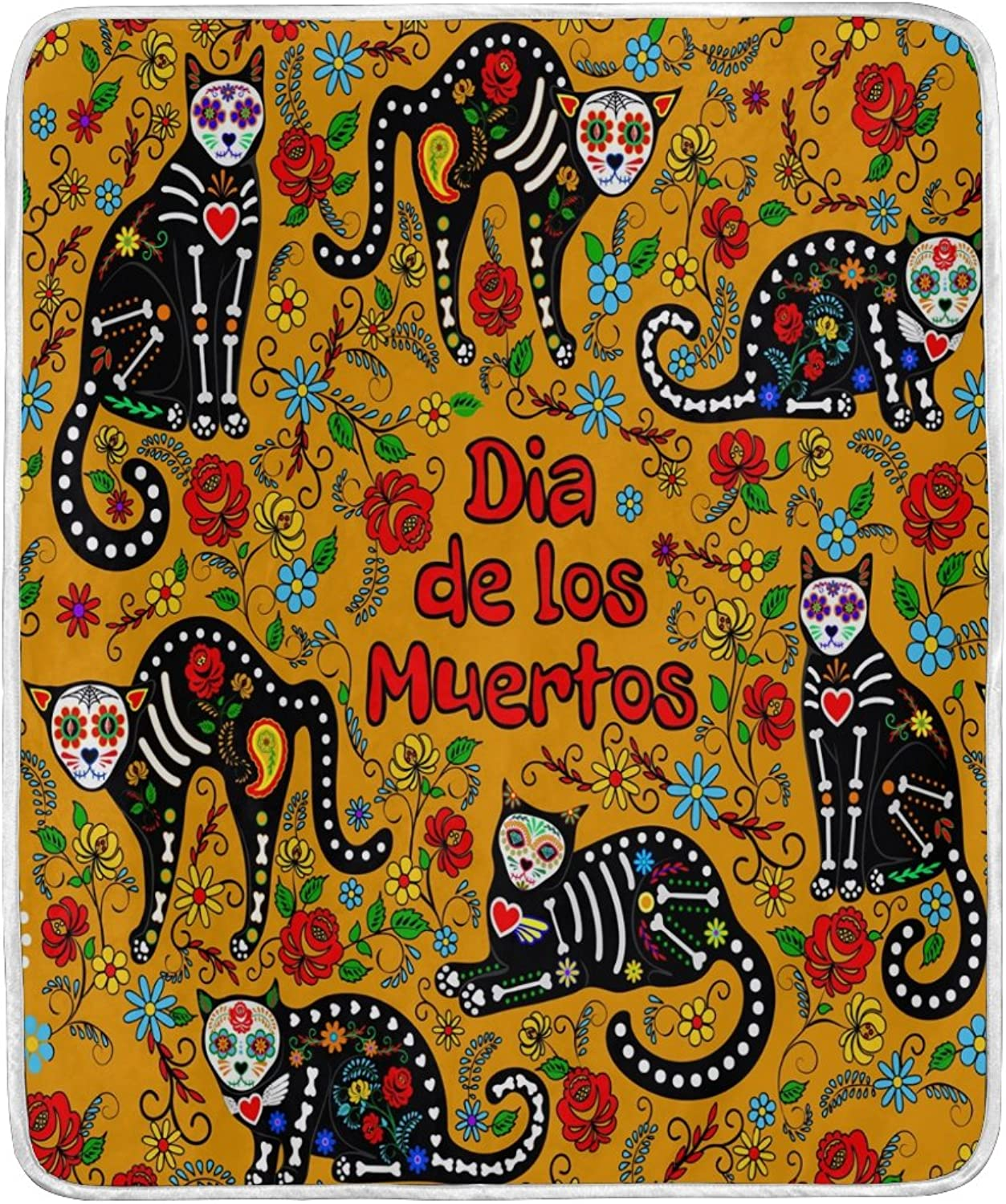ALAZA Home Decor Dia De Los Muertos Skull Cat Floral Blanket Soft Warm Blankets for Bed Couch Sofa Lightweight Travelling Camping 60 x 50 inch Throw Size for Kids Boys Women