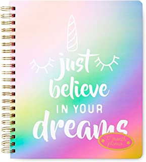 Believe in Your Dreams 2019 2020 17 Month Large Agenda Weekly Planner Personal Organizer, Unicorn Multi