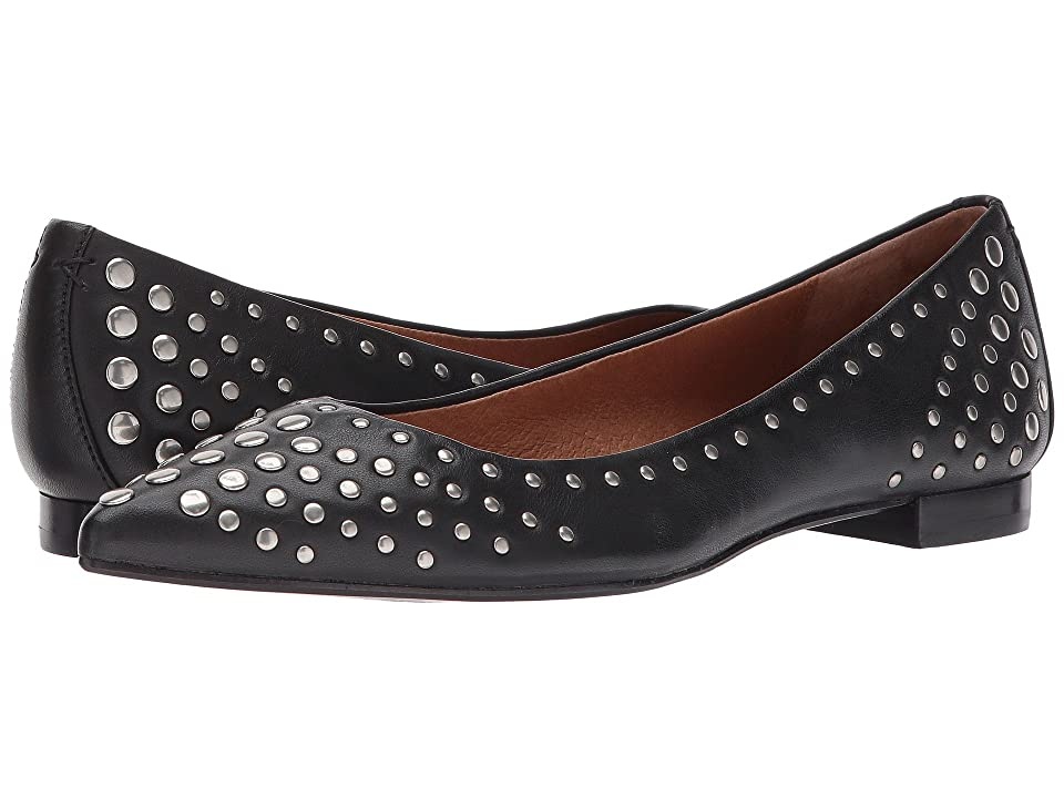 Frye Sienna Multi Stud Ballet (Black Antiqued Polished Leather) Women