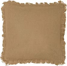 VHC Brands Classic Country Farmhouse Pillows & Throws-Burlap Natural Tan Fringed 16 x 16 Pillow