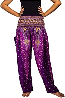LOFBAZ Harembyxor för kvinnor Yoga Boho Hippiekläder Dam Palazzo Bohemian Pyjama Beach Indian Gypsy Genie Kläder Påfågel 1...