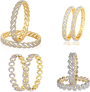887c30ffb Embroco Gold Plated Fancy Designer American Diamond on Bangles Set Combo of  4 for Girls &