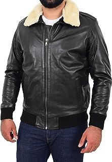 Mens Bomber Leather Jacket Detachable Collar Air Force Pilot Flying Style Viggo Black
