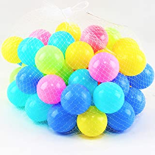 Pack of 50 2.3-Inch BPA Free Phthalate Free Non-Toxic Crush Proof Play Pit Soft Plastic Balls -Gifts for Kids Babies Toddlers 1 2 3 4 5 6 12 18 Months Year Old Boys and Girls Baby