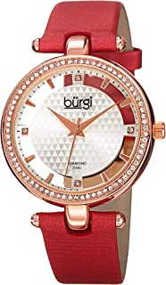 Burgi Women's BUR104RD Diamond & Crystal Accented Pyramid Etched Floating Dial Rose Gold & Red Satin over Genuine Leather Strap Watch