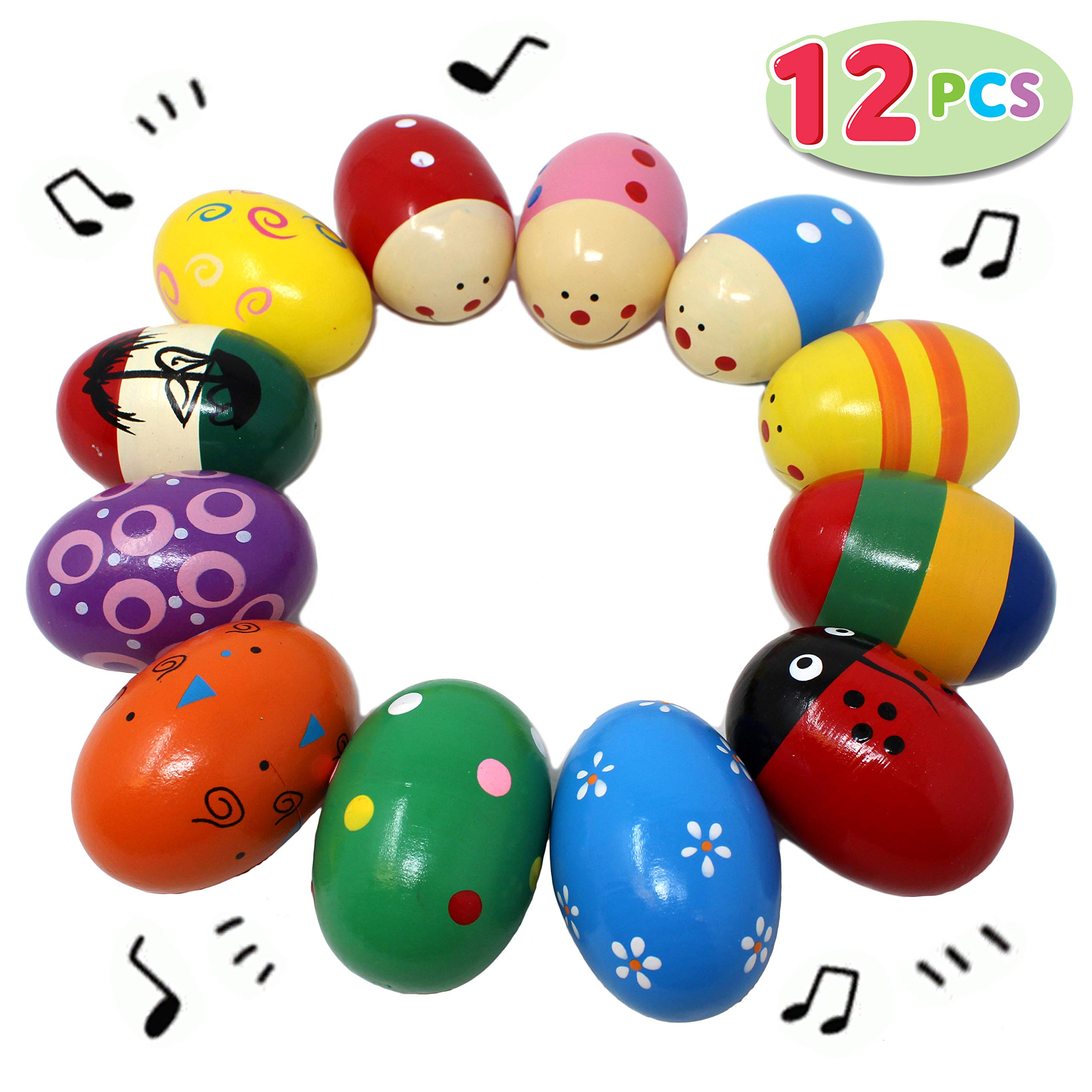 Wooden Percussion Musical Egg Maracas Egg Shakers With Assorted colors Lovely Pattern 6PCS