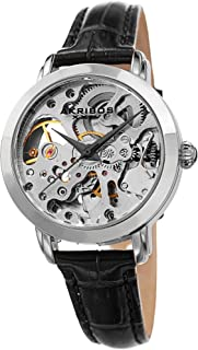 Akribos XXIV Skelton Women's Watch – See Through Dial with Automatic Movement – Genuine Leather Crocodile Band, Casual Skinny Strap