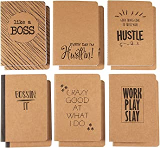 Kraft Notebook - 12-Pack Lined Notebook Journals, Pocket Journal for Travelers, Diary, Notes - 6 Different Funny Motivational Designs, Soft Cover, 80 Pages, Brown, 4 x 5.75 Inches
