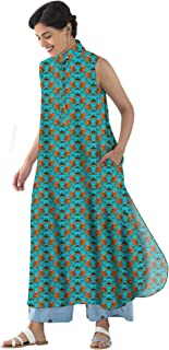 RADANYA Flowers Pattern Summer Long Tops Tunic Kurta Kurti Casual wear Long kurtaH3782 Kurti for Womens