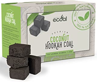 eCoal Premium Coconut Shisha Hookah Coal –1KG Large Charcoal Cube Briquettes - Less Ash, Longer Lasting, Clean Burning - Sulfur, Odor and Taste Free