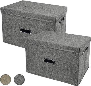 RAYTORY 大型収納ボックス ふた付き 折り畳み収納ケース 大容量 布芸収納ケース 洗える 不織布+無臭綿麻 防塵 防湿 取っ手付き 整理箱 衣類、おもちゃ、書類、寝室 事務室 学生用 2個セット