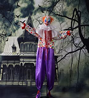 Haunted Hill Farm HHCLOWN-1FLA Life-Size Animated Scary Talking Clown Prop w/Flashing Red Eyes Indoor/Outdoor Halloween Decoration, Color 3