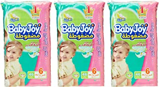 Babyjoy Compressed Diamond pad Diaper, Giant Pack Junior XXL Size 6, Count 138, 16+ KG