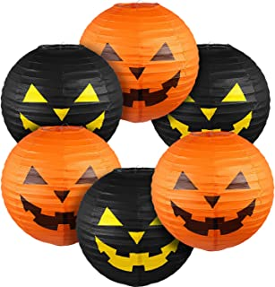 Blulu 6 Pieces Halloween Hanging Paper Lanterns Set, Halloween Pumpkin Paper Jack-O'-Lantern for Halloween Spooky Home Par...