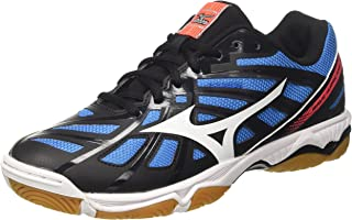 MIZUNO V1GA174001 Wave Hurricane 3 Men's Volleyball Shoes, Black/White/Fiery Coral