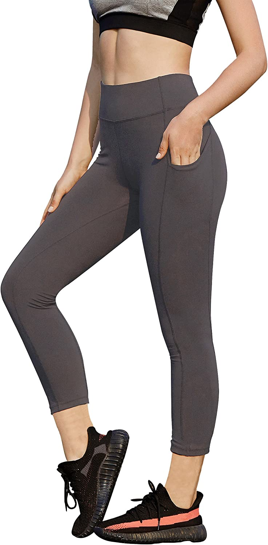 AJISAI Yoga Capri Pants for Women Running Workout Leggings High Waist Tummy Control