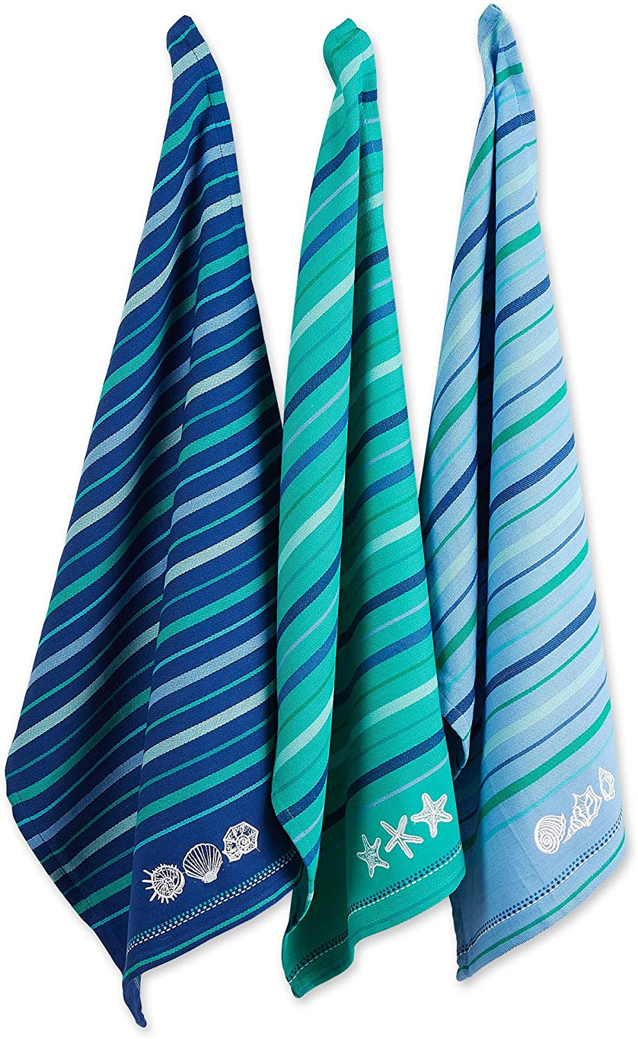 DII Cotton Lowest price challenge Embroidered Blue Sea Dish Towels Set of 3 18 28