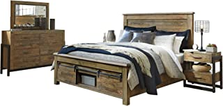 Ashley Sommerford 5PC Bedroom Set Cal King Panel Bed Two Nightstand Dresser Mirror in Brown