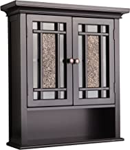 Elegant Home Fashions Windsor Wall Mounted Medicine Cabinet Bathroom Above Toilet Storage with Mosaic Doors Open Shelf and...