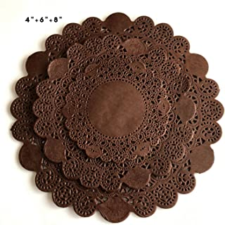 150Pcs Brown Glassine Paper Doilies, Round Assorted Size 4