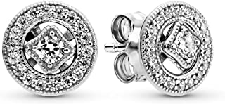 Jewelry - Vintage Circle Stud Earrings in Sterling Silver with Clear Cubic Zirconia