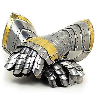 Nagina International Medieval Warrior Steel Gothic Knight Style Warrior Functional Gloves & Gauntlets | Brass Accent