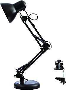 RASER - Lámpara Flexo LED de escritorio, de trabajo, de mesa con base o abrazadera intercambiables, brazo articulado, Lámpara perfecta para estudiar o trabajar Negro/Blanco