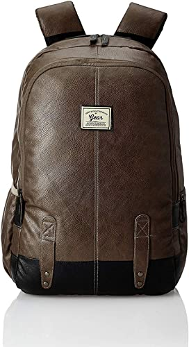 Gear Classic Anti Theft Faux Leather 16 inch 14 cms Brown Laptop Backpack (LBPCLSLTH0201)