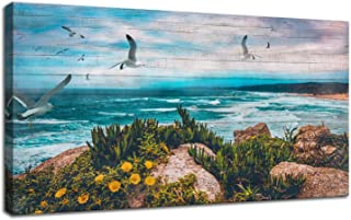 Canvas Wall Art Blue Ocean Seascape Painting Landscape Prints Modern Birds Coastal Wood Grain Peaceful Panoramic Modern Picture Large Size Framed for Home Office Living Room Bedroom Décor 48