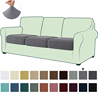 Hokway Jacquard Cushion Covers Couch Cushion Slipcover Sofa Seat Slipcovers Furniture Protector(Light Grey,3)