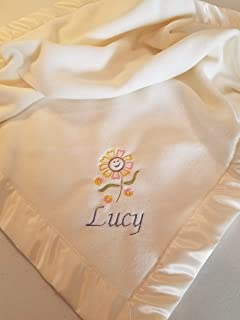 Personalized Fleece Baby Blanket With Embroidered Flower