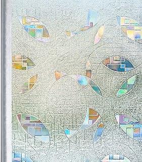 窓 めかくしシート ステンドグラス シール 窓ガラス 目隠し フィルム uvカット 紫外線対策 遮光 窓飾り 虹色プリズム 水貼り簡単 跡なし剥がせる 飛散防止 網入りガラスも適用(氷面鏡 90 x 200cm)