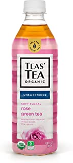 Teas' Tea Unsweetened Rose Green Tea 16.9 Ounce (Pack of 12) Organic Zero Calories No Sugars No Artificial Sweeteners Antioxidant Rich High in Vitamin C