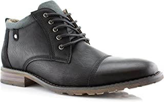 Brenton MPX806059 Mens Casual Work Lace Up Zipper Classic Motorcycle Chukka Boots Black