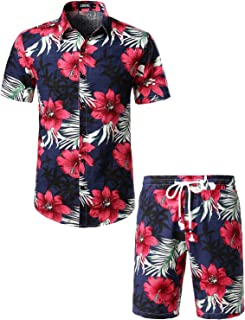 aac3306f JOGAL Men's Flower Casual Button Down Short Sleeve Hawaiian Shirt Suits